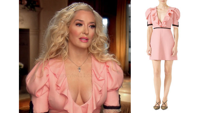 Real Housewives of Beverly Hills, RHBH, RHOBH, Erika Girardi, Erika Jayne, Erica Giradi, Erica Jane, #RHBH, #RealHousewivesBeverlyHills, shop your tv, the take, steal her style, worn on tv, tv fashion, clothes from tv shows, Real Housewives of Orange County outfits, bravo, reality tv clothes, Season 7, interviews, pink dress, rink ruffle dress, Gucci pink dress