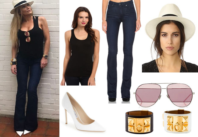 Ladies of London, Adela King, @adelakinglondon, Adela King style, Adela King fashion, steal her style, shop your tv, the take, worn on tv, bravotv.com, LOL, Adel a King wardrobe, tv fashion, clothes from tv shows, Ladies of London outfits, Season 3, bravo, reality tv clothes, paige jeans, dior split sunglasses, jimmy choo heels, hermes chien bracelets, leather bracelets, floppy hat