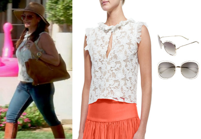 Real Housewives of Beverly Hills, RHBH, RHOBH, Kyle Richards, Kyle Richards Umansky, Kyle Richards fashion, Kyle Richards style, Kyle Richards wardrobe, #RHOBH, #RealHousewivesBeverlyHills, steal her style, the take, shop your tv, worn on tv, tv fashion, clothes from tv shows, Real Housewives of Beverly Hills outfits, bravo, reality tv clothes, Season 7, Episode 14, white sleeveless lace top, chloe sunglasses, lunch at vanderpumps