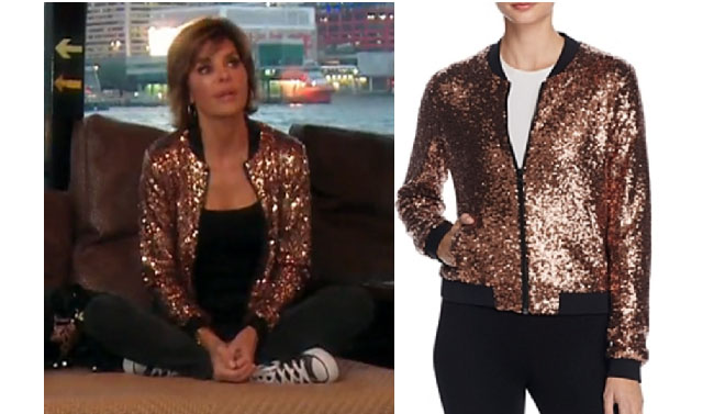 Real Housewives of Beverly Hills, RHBH, RHOBH, Lisa Rina fashion, Lisa Rinna, Lisa Rinna fashion, Lisa Rinna style, Lisa Rinna wardrobe, #RHOBH, #RealHousewivesBeverlyHills, steal her style, the take, shop your tv, worn on tv, tv fashion, clothes from tv shows, Real Housewives of Beverly Hills outfits, bravo, reality tv clothes, Season 7, episode 15, sequins bomber jacket, copper sequins jacket, junk boat, hong kong