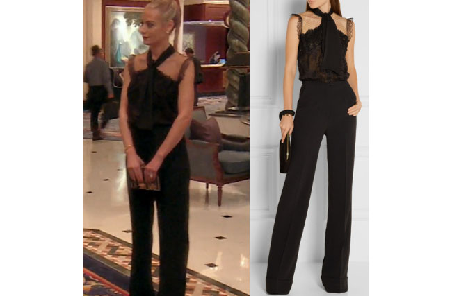 Real Housewives of Beverly Hills, RHBH, RHOBH, Dorit Kemsley, Dorit Kemsley fashion, Dorit Kemsley style, Dorit Kemsley wardrobe, #RHOBH, #RealHousewivesBeverlyHills, steal her style, the take, shop your tv, worn on tv, tv fashion, clothes from tv shows, Real Housewives of Beverly Hills outfits, bravo, reality tv clothes, Season 7, Episode 17, black lace jumpsuit, hong kong, elie saab pussy bow lace jumpsuit