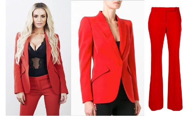 Real Housewives of Beverly Hills, RHBH, RHOBH, Dorit Kemsley, Dorit Kemsley fashion, Dorit Kemsley style, Dorit Kemsley wardrobe, #RHOBH, #RealHousewivesBeverlyHills, steal her style, the take, shop your tv, worn on tv, tv fashion, clothes from tv shows, Real Housewives of Beverly Hills outfits, bravo, reality tv clothes, Season 7, social media, red blazer, red pants, red suit, orange suit, orange blazer, orange trousers, alexander mcqueen red jacket