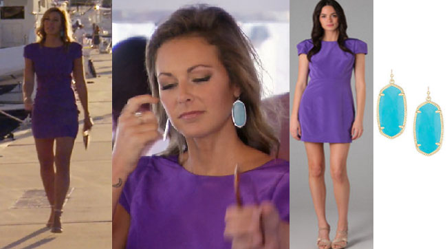 Southern Charm, Kathryn Dennis, Chelsea Meissner, #SC, #bravo, #southerncharm, #scharm, worn on tv, tv fashion, clothes from tv shows, Southern Charm outfits, Southern Charm fashion, Southern Charm style, star style, shop your tv, bravo, reality tv, season 4, purple dress, tibi cap sleeve silk dress, kendra scott turquoise earrings, blue earrings
