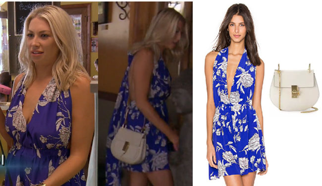 Vanderpump Rules, Stassi Schroeder style, Stassi Schroeder, Stassi Schroeder fashion, burgundy dress, @stassischroeder, bravotv.com, #pumprules, Stassi Schroeder outfit, steal her style, shop your tv, the take, worn on tv, tv fashion, clothes from tv shows, Vanderpump Rules outfits, bravo, Season 5, Episode 15, blue romper, white bag, blue floral romper, yumi kim romper