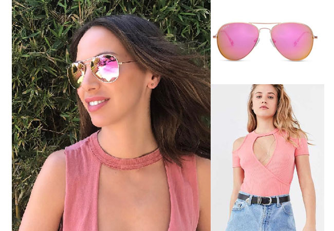 Vanderpump Rules, Kristen Doute style, Kristen Doute,Kristen Doute fashion, @kristendoute, bravotv.com, #pumprules, Kristen Doute outfit, steal her style, shop your tv, the take, worn on tv, tv fashion, clothes from tv shows, Vanderpump Rules outfits, bravo, Season 5, reality tv clothes, aviators, Diffeyewear, cruz aviators, pink cutout top, pink halter