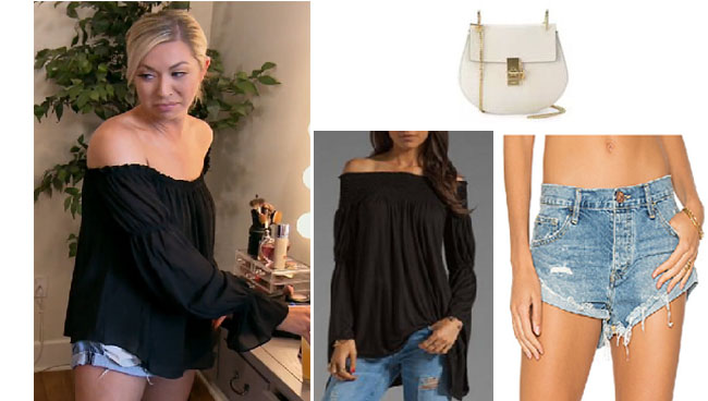 Vanderpump Rules, Stassi Schroeder style, Stassi Schroeder, Stassi Schroeder fashion, burgundy dress, @stassischroeder, bravotv.com, #pumprules, Stassi Schroeder outfit, steal her style, shop your tv, the take, worn on tv, tv fashion, clothes from tv shows, Vanderpump Rules outfits, bravo, Season 5, reality tv clothes, star style, Episode 18, black off the shoulder top, jean shorts, cut-off jean shorts, white bag, chloe drew bag