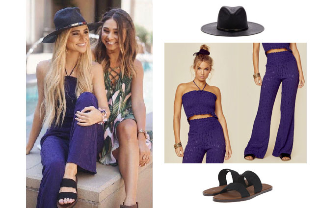 Amanda Stanton, The Bachelor, celebrity style, star style, Amanda Stanton outfits, Amanda Stanton fashion, Amanda Stanton style, shop your tv, @amanda_stantonn, worn on tv, tv fashion, clothes from tv shows, tv outfits, black hat, black sandals, sanuk yoga gora gora sandals, janessa leone byrony hat, Tru Blu Naomie Top and Bottoms, Purple jumper