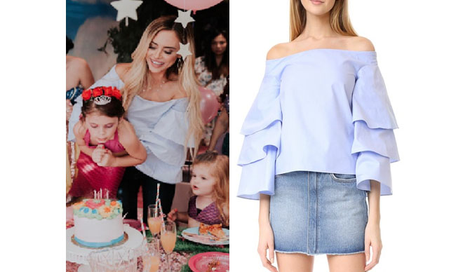 Amanda Stanton, The Bachelor, celebrity style, star style, Amanda Stanton outfits, Amanda Stanton fashion, Amanda Stanton style, shop your tv, @amanda_stantonn, worn on tv, tv fashion, clothes from tv shows, tv outfits, Endless Rose blue three layer sleeve top, off the shoulder blue top