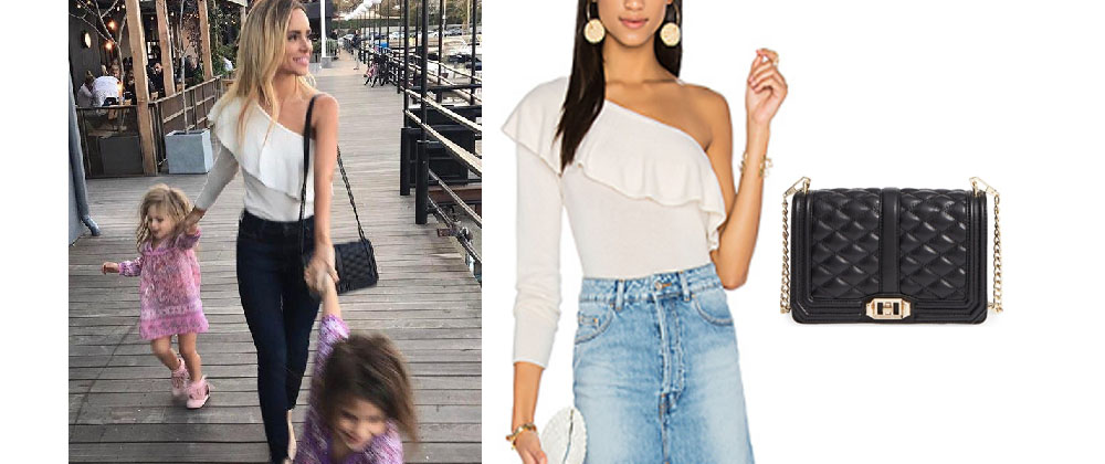 93ad780d0aa Amanda Stanton`s Cream One Shoulder Top and Black Bag   Your Style 411