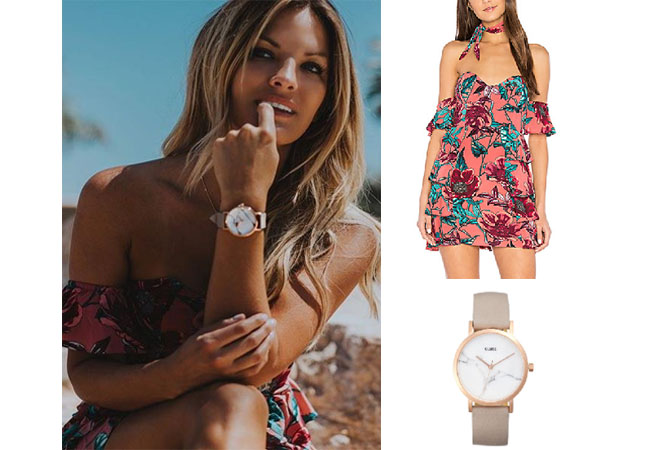 Becca Tilley, The Bachelor,  celebrity style, star style, Becca Tilley outfits, Becca Tilley fashion, Becca Tilley style, shop your tv, @beccatilley, worn on tv, tv fashion, clothes from tv shows, tv outfits, Love of Lemons flamenco strapless dress, la roche small stone leather strap