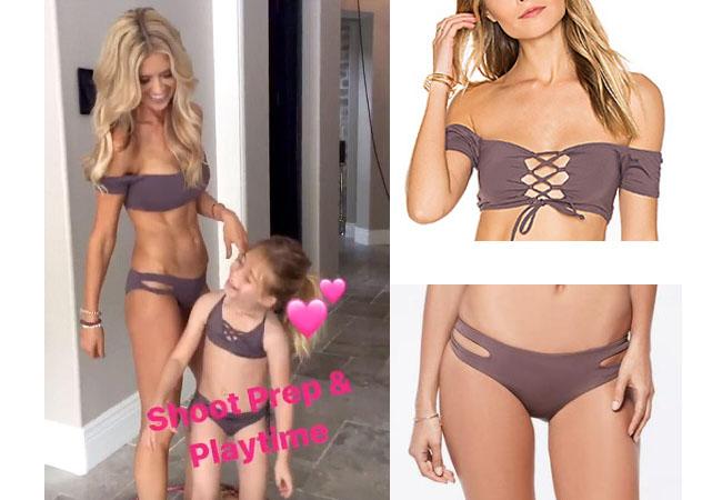 Flip Or Flop, Christina El Moussa, purple bikini, celebrity bikini, celebrity swimsuit, tv show outfits, tv show style, tv show fashion, shop your tv, the take