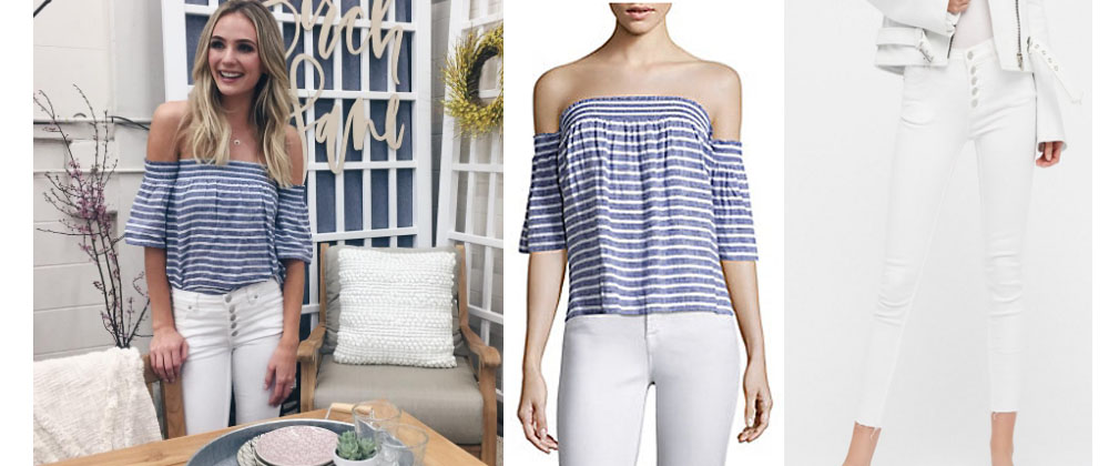 13f677a38e808 Laura Bushnell Blue White Striped Off The Shoulder Top White Jeans 2 ...