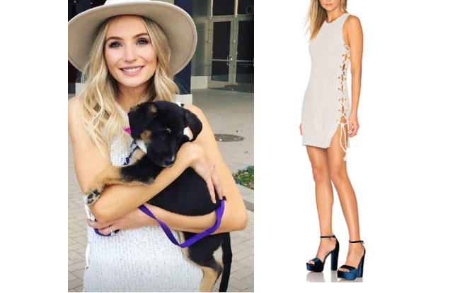 b4f8a3b1a625c Lauren Bushnell wore this sweater lace-up dress (40% off) recently on  social media.