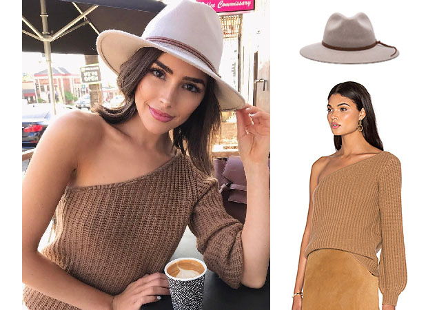 Olivia Culpo, celebrity style, star style, Olivia Culp outfits, Olivia Culpo fashion, Olivia Culpo style, shop your tv, @oliviaculpo, worn on tv, tv fashion, clothes from tv shows, tv outfits, LPA brown one sleeve top, Ale by Alessandra Aurora Stone hat, brown one sleeve top, brown one sleeve sweater