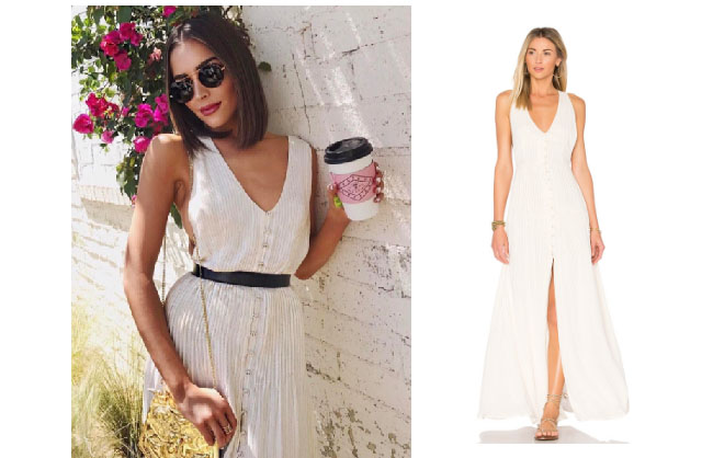 Olivia Culpo, celebrity style, star style, Olivia Culp outfits, Olivia Culpo fashion, Olivia Culpo style, shop your tv, @oliviaculpo, worn on tv, tv fashion, clothes from tv shows, tv outfits, House of Harlow Shane dress, cream sleeveless long dress