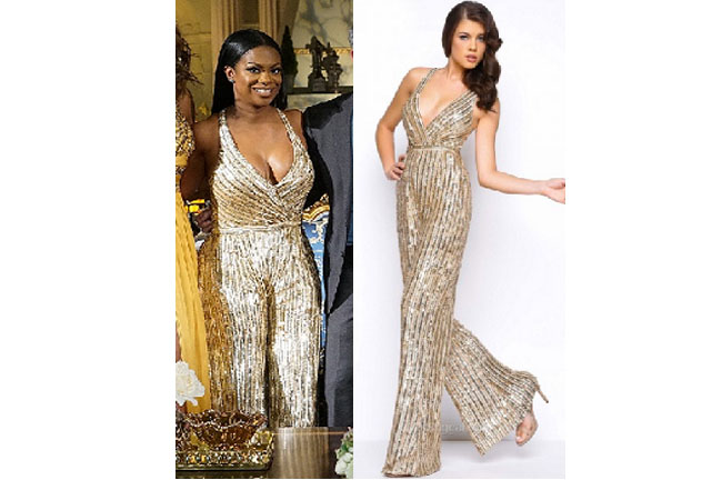 Real Housewives of Atlanta, RHOA, Kandi Burruss, Kandi Burruss fashion, Kandi Burruss wardrobe, Kandi Burruss style, #RHOA, #RealHousewivesofAtlanta, Season 9, shop your tv, the take, bravotv.com, worn on tv, tv fashion, clothes from tv shows, Real Housewives of Atlanta outfits, bravo, reality tv clothes, @kandi, gold jumpsuit, Mac Duggal wide leg jumpsuit