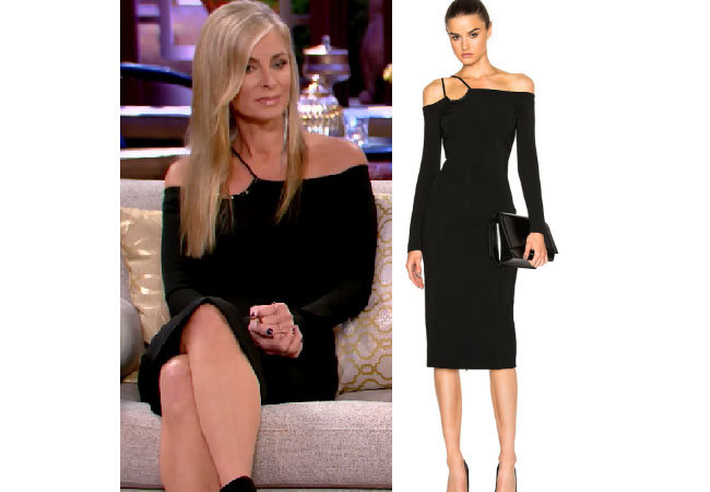 Real Housewives of Beverly Hills, RHBH, RHOBH, Eileen Davidson, Eileen Davidson fashion, Real Housewives of Beverly Hills style, Real Housewives of Beverly Hills clothes, Eileen Davidson style, Eileen Davidson wardrobe, #RHOBH, #RealHousewivesBeverlyHills,  steal her style, the take, shop your tv, worn on tv, tv fashion, clothes from tv shows, Real Housewives of Beverly Hills outfits, bravo, reality tv clothes, Season 7, Reunion, black long sleeve off the shoulder dress, David Koma off the shoulder dress