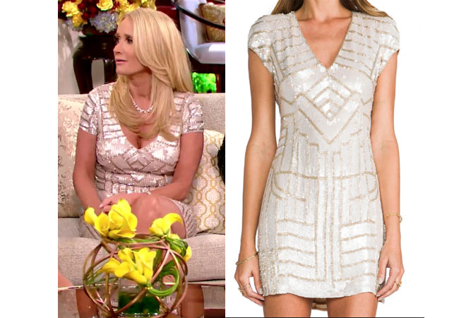 Real Housewives of Beverly Hills, RHBH, RHOBH, Kim Richards, Kim Richards Umansky, Kim Richards fashion, Kim Richards style, Kim Richards wardrobe, #RHOBH, #RealHousewivesBeverlyHills, steal her style, the take, shop your tv, worn on tv, tv fashion, clothes from tv shows, Real Housewives of Beverly Hills outfits, bravo, reality tv clothes, Season 7, Reunion, Parker Sequined blush serena dress, sequined pink dress
