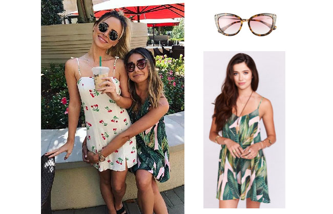 Sarah Vendal, The Bachelor,  celebrity style, star style, Sarah Vendal outfits, Sarah Vendal fashion, Sarah Vendal style, shop your tv, @sarahvendal, worn on tv, tv fashion, clothes from tv shows, tv outfits, Coachella 2017, Amanda stanton, green leaf mini dress, show me your mumu peachy palm mini dress, sonix melrose 51mm sunglasses