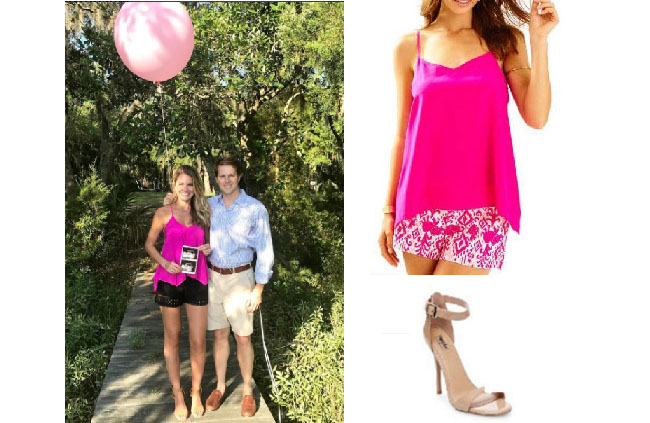 Southern Charm, Southern Charm style, Cameran Eubanks, Cameran Eubanks, Cameran Eubanks fashion, Cameran Eubanks wardrobe, Cameran Eubanks Style, @camwimberly1, #cameraneubanks, #SC, #southerncharm, Cameran Eubanks outfit, shop your tv, the take, worn on tv, tv fashion, clothes from tv shows, Southern Charm outfits, bravo, Season 4, star style, steal her style, pink tank top, pink tank interviews, Lilly Pulitzer fleur silk top, mossimo beige sandals, mossimo tan sandals, target mossimo pamela ankle strap sandals