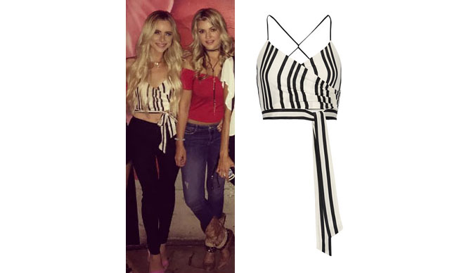 Amanda Stanton, The Bachelor, celebrity style, star style, Amanda Stanton outfits, Amanda Stanton fashion, Amanda Stanton style, shop your tv, @amanda_stantonn, worn on tv, tv fashion, clothes from tv shows, tv outfits, black and white striped crop top, black and white striped tie top, alice + olivia rayna striped silk wrap-effect top