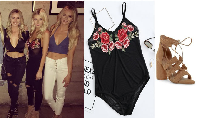 Haley Ferguson, The Bachelor, celebrity style, star style, Haley Ferguson outfits, Haley Ferguson fashion, Haley Ferugosn style, shop your tv, @hfergie11, worn on tv, tv fashion, clothes from tv shows, tv outfits, rose embroidered black bodysuit, shein embroidered bodysuit, floral bodysuit, tan sandals, raye libby braided sandals