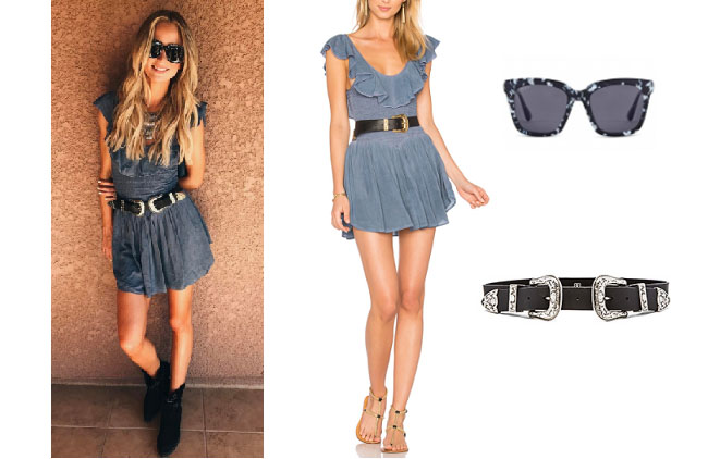 Lauren Bushnell, The Bachelor, celebrity style, star style, Lauren Bushnell outfits, Lauren Bushness fashion, Lauren Bushnell Style, shop your tv, @laurenbushnell, worn on tv, tv fashion, clothes from tv shows, tv outfits, blue romper, blue life ruffle romper, diff eyewear bella sunglasses, B-Low Bri-Bri Waist Belt
