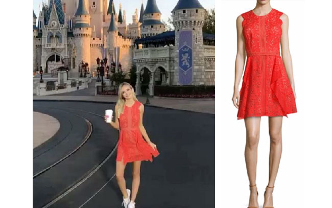 Lauren Bushnell, The Bachelor, celebrity style, star style, Lauren Bushnell outfits, Lauren Bushness fashion, Lauren Bushnell Style, shop your tv, @laurenbushnell, worn on tv, tv fashion, clothes from tv shows, tv outfits, orange dress, bcbg cotton red dress, disneyland orange dress, disneyland red dress on social media