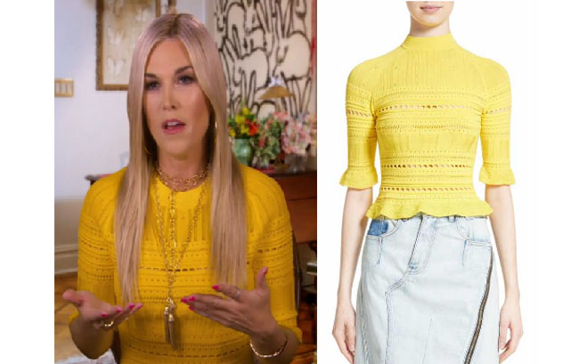 Real Housewives of New York style, Real Housewives of New York fashion, Tinsley Mortimer style, Tinsley Mortimer fashion, socialite fashion, socialite style, shop your tv, the take, Tinsley Mortimer style, #RealHousewivesNewYork, worn on tv, tv fashion, clothes from tv shows, Real Housewives of New York outfits, bravo, shop your tv, reality tv clothes, Season 9, Episode 8, Interviews, yellow top, 3.1 lim pointelle top, yellow lace top