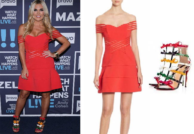 Real Housewives of New York style, Real Housewives of New York fashion, Tinsley Mortimer style, Tinsley Mortimer fashion, socialite fashion, socialite style, shop your tv, the take, Tinsley Mortimer style, #RealHousewivesNewYork, worn on tv, tv fashion, clothes from tv shows, Real Housewives of New York outfits, bravo, shop your tv, reality tv clothes, nicholas red off the shoulder strappy dress, christian louboutin girlystrappi sandals, louboutin bow sandals, WWHL 017, Watch What Happens Live 2017