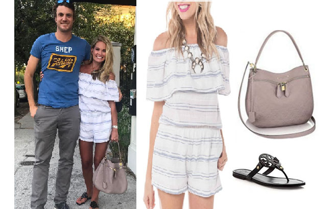 Southern Charm, Southern Charm style, Cameran Eubanks, Cameran Eubanks, Cameran Eubanks fashion, Cameran Eubanks wardrobe, Cameran Eubanks Style, @camwimberly1, #cameraneubanks, #SC, #southerncharm, Cameran Eubanks outfit, shop your tv, the take, worn on tv, tv fashion, clothes from tv shows, Southern Charm outfits, bravo, Season 4, white blue romper, black tory burch sandals, grey louis vuitton