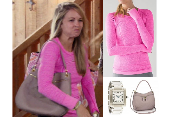 Southern Charm, Southern Charm style, Cameran Eubanks, Cameran Eubanks, Cameran Eubanks fashion, Cameran Eubanks wardrobe, Cameran Eubanks Style, @camwimberly1, #cameraneubanks, #SC, #southerncharm, Cameran Eubanks outfit, shop your tv, the take, worn on tv, tv fashion, clothes from tv shows, Southern Charm outfits, bravo, Season 4, star style, steal her style, Episode 7, hunting top, pink long sleeve top, lululemon swiftly crew neck, cartier tank watch, grey louis vuitton sportini