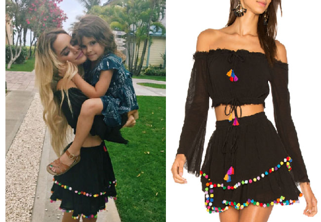 Amanda Stanton, The Bachelor, celebrity style, star style, Amanda Stanton outfits, Amanda Stanton fashion, Amanda Stanton style, shop your tv, @amanda_stantonn, worn on tv, tv fashion, clothes from tv shows, tv outfits, majorelle crop top, calypso skirt, pom pom skirt