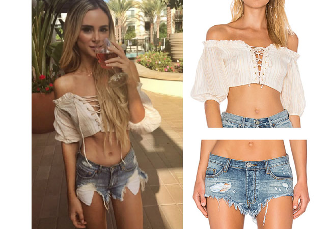 Amanda Stanton, The Bachelor,  celebrity style, star style, Amanda Stanton outfits, Amanda Stanton fashion, Amanda Stanton style, shop your tv, @amanda_stantonn, worn on tv, tv fashion, clothes from tv shows, tv outfits,majorelle lace-up top, cream lace-up top, one teaspoon jean shorts, one teaspoon the rollers jean shorts
