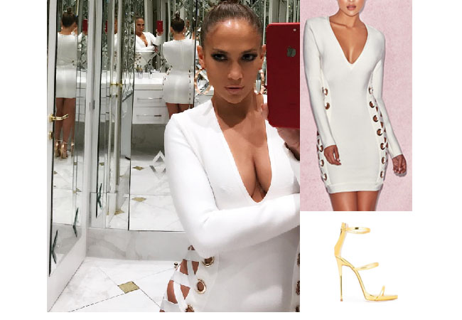 Jennifer Lopez outfits, Jennifer Lopez style, Jennifer Lopez fashion, Jennifer Lopez outfits, Jennifer Lopez clothes, @jlo, Dancing With The Stars outfit, celebrity style, celebrity fashion, white eyelet lace-up dress, house of CB bandage Darcia dress, guiseppe Zanaotti harmony gold sandals