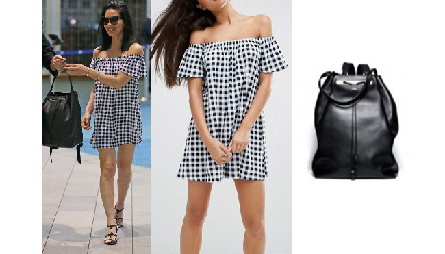 Olivia Munn, Olivia Munn wardrobe, Olivia Munn fashion, Olivia Munn style, Olivia Munn outfits, Olivia Munn clothes, celebrity clothes, celebrity outfits, celebrity style, steal her style, shop your tv, worn on tv, the take, star style, blue gingham dress, off the shoulder gingham blue dress, the row black leather backpack 11