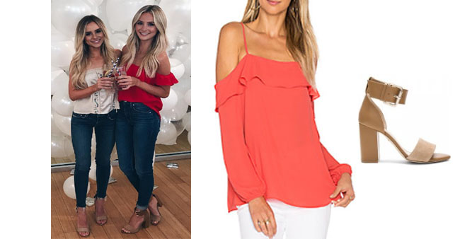 Lauren Bushnell, The Bachelor, celebrity style, star style, Lauren Bushnell outfits, Lauren Bushnell fashion, Lauren Bushnell Style, shop your tv, @laurenbushnell, worn on tv, tv fashion, clothes from tv shows, tv outfits, raye leia heel, 1. state cold shoulder with ruffle top, red cold shoulder top