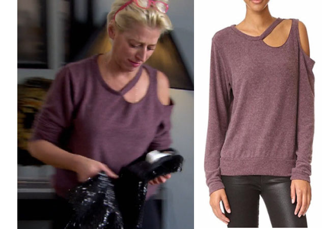 Real Housewives of New York, RHONY, Dorinda Medley outfit, Dorinda Medley wardrobe, bravotv.com, #RHONY, #RHNY, #bravo, Real Housewives of New York style, Real Housewives of New York fashion, Dorinda Medley style, shop your tv, the take, #RealHousewivesNewYork, worn on tv, tv fashion, clothes from tv shows, Real Housewives of New York outfits, bravo, shop your tv, reality tv clothes, Episode 10, lna purple slash sweater, purple cut-out sweater