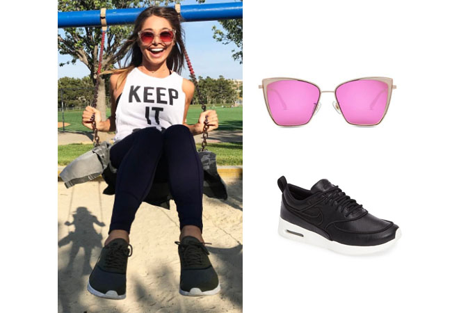 Sarah Vendal, The Bachelor, celebrity style, star style, Sarah Vendal outfits, Sarah Vendal fashion, Sarah Vendal style, shop your tv, @sarahvendal, worn on tv, tv fashion, clothes from tv shows, tv outfits, black nike lux sneakers thea, diffeyewear becky, gold rim pink lens sunglasses
