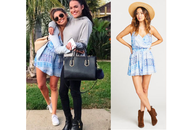 Sarah Vendal, The Bachelor, celebrity style, star style, Sarah Vendal outfits, Sarah Vendal fashion, Sarah Vendal style, shop your tv, @sarahvendal, worn on tv, tv fashion, clothes from tv shows, tv outfits, blue paisley romper, show me your mumu olympia romper - paisley romper