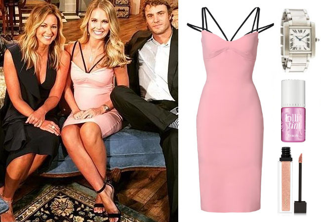 Southern Charm, Southern Charm style, Cameran Eubanks, Cameran Eubanks, Cameran Eubanks fashion, Cameran Eubanks wardrobe, Cameran Eubanks Style, @camwimberly1, #cameraneubanks, #SC, #southerncharm, Cameran Eubanks outfit, shop your tv, the take, worn on tv, tv fashion, clothes from tv shows, Southern Charm outfits, bravo, Season 4, star style, steal her style, La Petite Robe Di Chiara Boni Brie Dress, pink black strapy dress, pink black strappy dress, pink strap dress, cartier tank watch, Cameran's silver watch, Cameran's pink reunion dress, Cameran's pink dress, Cameran's lip gloss, benetint lolli lip stain, Jouer lip gloss St Tropez, Cameran's reunion makeup
