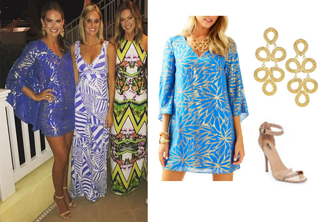 Southern Charm, Southern Charm style, Cameran Eubanks, Cameran Eubanks, Cameran Eubanks fashion, Cameran Eubanks wardrobe, Cameran Eubanks Style, @camwimberly1, #cameraneubanks, #SC, #southerncharm, Cameran Eubanks outfit, shop your tv, the take, worn on tv, tv fashion, clothes from tv shows, Southern Charm outfits, bravo, Season 4, star style, steal her style, blue caftan dress, lilly pulitzer miri silk caftan, lisi lerch ginger gold earrings, mossimo target nude sandals, finale blue dress, Cameran's finale blue dress