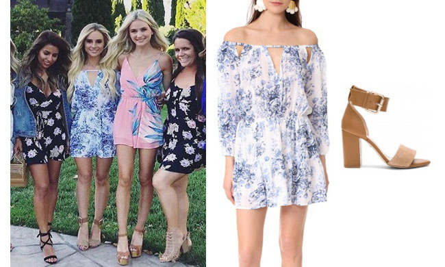 Amanda Stanton, The Bachelor,  celebrity style, star style, Amanda Stanton outfits, Amanda Stanton fashion, Amanda Stanton style, shop your tv, @amanda_stanton, worn on tv, tv fashion, clothes from tv shows, tv outfits, Amanda Stanton 2017, Amanda Stanton bachelor, Amanda Stanton instagram, Amanda Stanton Roe + May blue and white floral mini dress, raye leia sandals