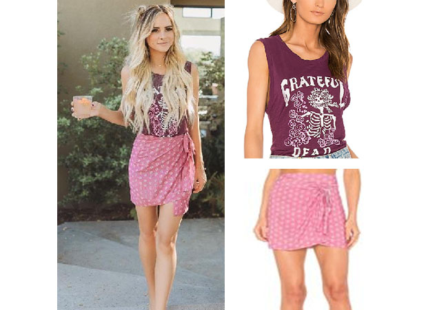 Amanda Stanton, The Bachelor, celebrity style, star style, Amanda Stanton outfits, Amanda Stanton fashion, Amanda Stanton style, shop your tv, @amanda_stantonn, worn on tv, tv fashion, clothes from tv shows, tv outfits, junkfood grateful dead tee, novella royale knox skirt, pink wrap skirt, amanda's outfits