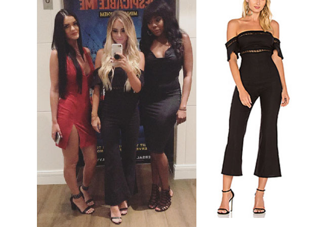 07045c8b1e55 Amanda Stanton wore this Stone Cold Fox black off the shoulder jumpsuit on  Instagram recently.