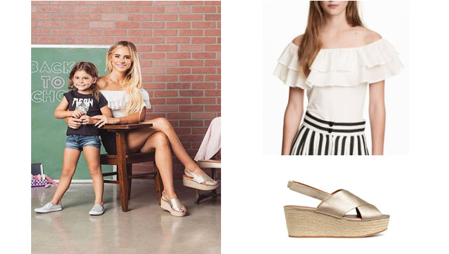 Amanda Stanton, The Bachelor, celebrity style, star style, Amanda Stanton outfits, Amanda Stanton fashion, Amanda Stanton style, shop your tv, @amanda_stantonn, worn on tv, tv fashion, clothes from tv shows, tv outfits, h&m white ruffle top, H&m gold wedge sandals, amanda stanton bachelor, amanda stanton instagram