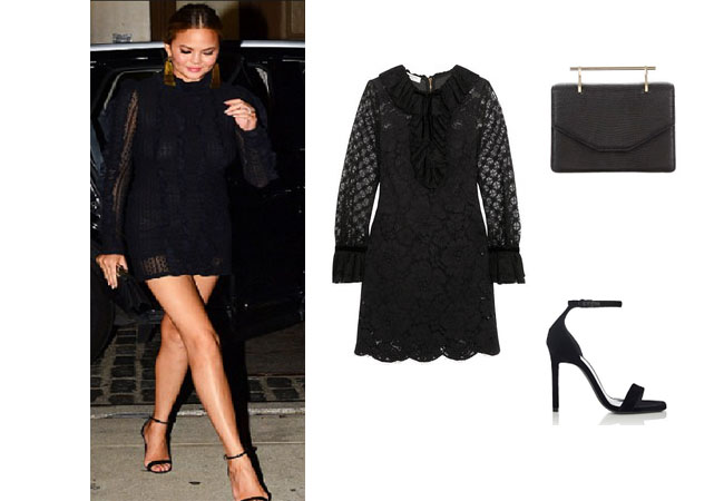 Chrissy Teigen, Chrissy Teigen wardrobe, Chrissy Teigen fashion, Chrissy Tiegen style, Chrissy Teigen outfits, Chrissy Teigen clothes, John Legend Chrissy, Chrissy Teigen husband, celebrity clothes, celebrity outfits, celebrity style, steal her style, shop your tv, worn on tv, the take, star style, Philosophy black lace dress, saint laurent sandals