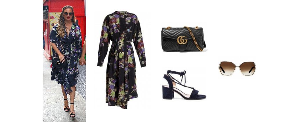 f9cebe84b92ea0 Chrissy Tiegen Floral Black Dress