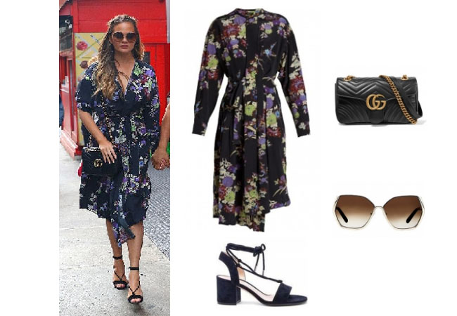 Chrissy Teigen, Chrissy Teigen wardrobe, Chrissy Teigen fashion, Chrissy Tiegen style, Chrissy Teigen outfits, Chrissy Teigen clothes, John Legend Chrissy, Chrissy Teigen husband, celebrity clothes, celebrity outfits, celebrity style, steal her style, shop your tv, worn on tv, the take, star style, isabel marant silk dress, gucci marmount sunglasses, chloe sunglasses, gianvitto rossi lace up sandals