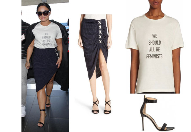 Demi Lovato outfits, Demi Lovato style,Demi Lovato fashion, Demi Lovato outfits, Demi Lovato clothes, celebrity style, celebrity fashion, celebrity wardrobe, Demi Levato wardrobe, Veronic BEard Lace-up marlow skirt, we should all be feminist tee, gianvito rossi ankle strap sandals